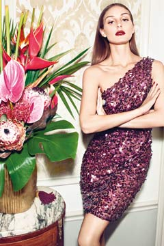 Olivia Palermo Mango Winter catalog purple sequin one shoulder dress