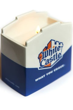 White Castle slider-scented candle