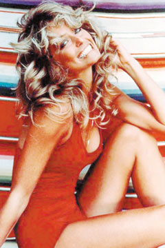 farrah fawcett red bathing suit