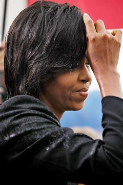 Michelle Obama wet hair weatherproof your hair