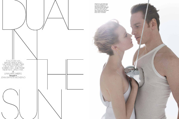 Mia Wasikowska and Michael Fassbender w magazine