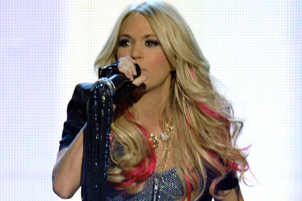Carrie Underwood ACM Awards 2011 Pink Hair Extensions