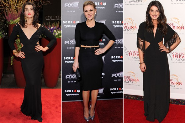 crystal renn Shenae Grimes anna paquin black dress cut out waistline
