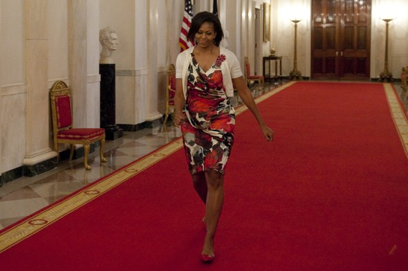 michelle obama first lady diane von furstenberg rose floral dress