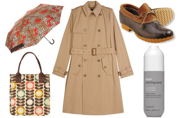 topshop umbrella orla kiely bag l l bean boots ralph lauren trench coat no frizz styling gel rain rainy day april showers
