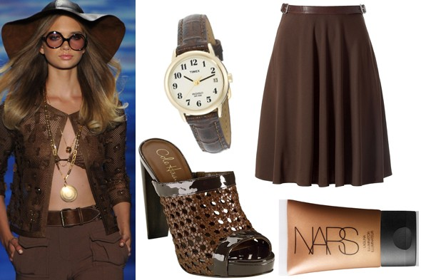 tracy reese brown russet pantone timex watch ralph lauren collection skirt cole haan slide heel nars illuminator