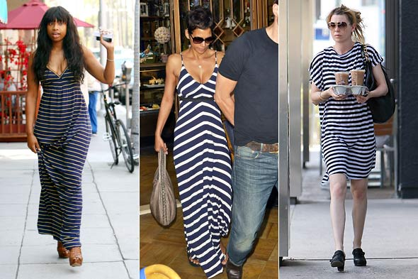 jennifer hudson halle berry ellen pompeo stripe striped navy blue and white dress