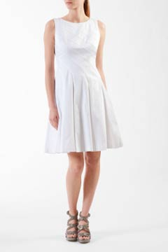 calvin klein white spring 2011 pleated dress