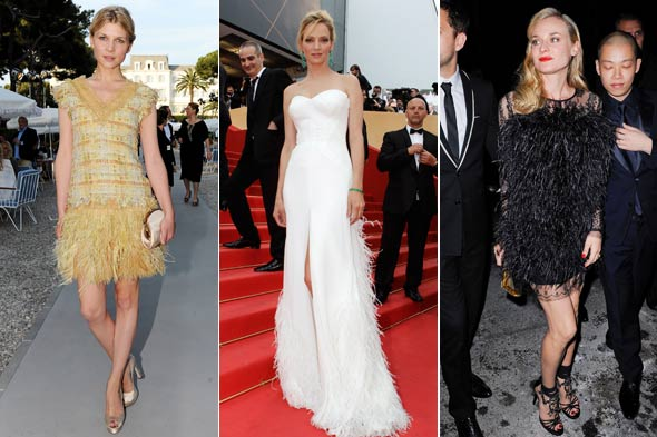celebrity look of the week diane kruger uma thurman clemence poesy feathers