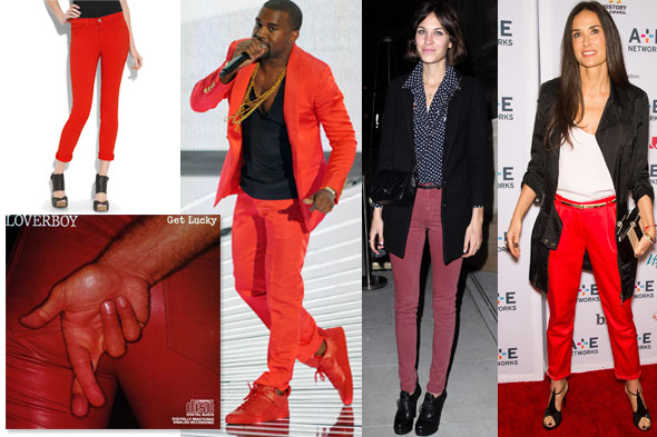 red pants demi moore kanye west alexa chung jeans trousers