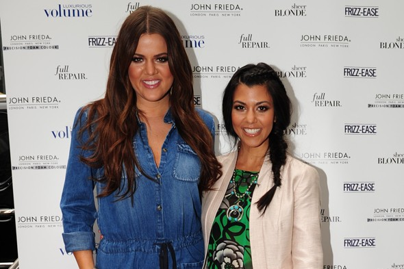 kourtney kardashian, khloe kardashian, john frieda salon tour