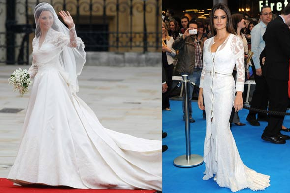 kate middleton wedding dress white lace penelope cruz