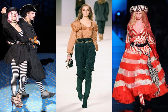 pirates pirate influenced Looks from Betsey Johnson spring 2009, Jean-Paul Gaultier spring 2008 and Chloé winter 2009.