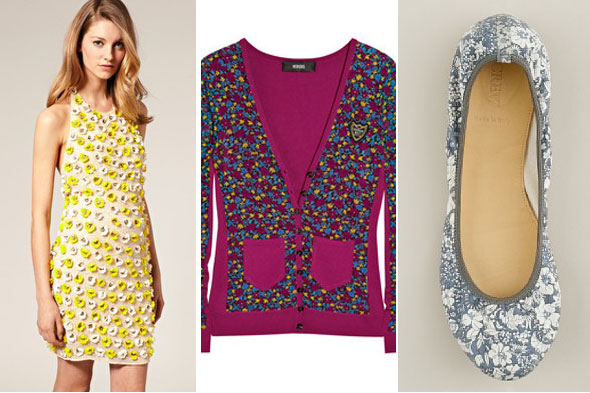 florals, how to wear florals, flower prints, j crew flats, flower dresses, spring 2011