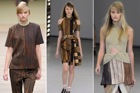 wood paneling clothes, rodarte wood dress, celine wood dress