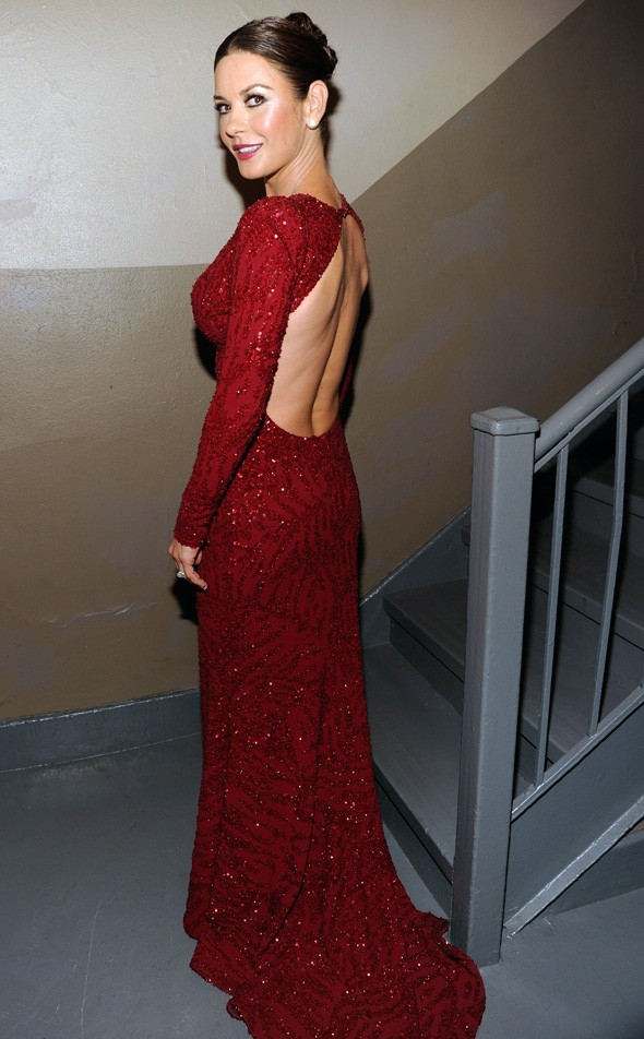 catherine zeta jones tony awards red gown dress elie saab