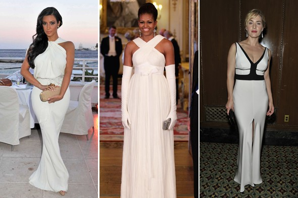 kim kardashian michelle obama kate winslet white gown dress