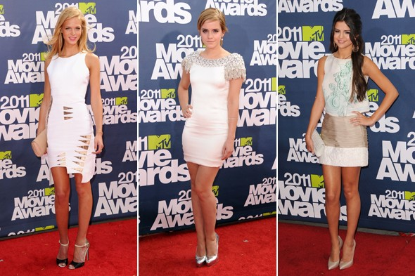 erin heatherton emma watson selena gomez white lwd mtv movie awards 2011