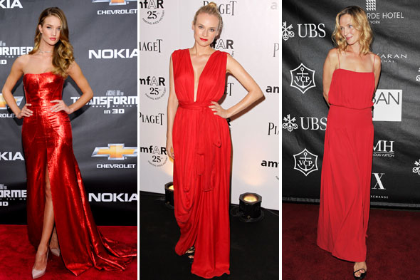celebrity look of the week rosie huntington-whiteley uma thurman diane kruger red dresses gowns summer bronze tan