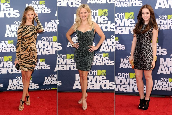 Rosie Huntington-Whiteley lilly collins reese witherspoon mtv movie awards 2011 animal leopard tiger print