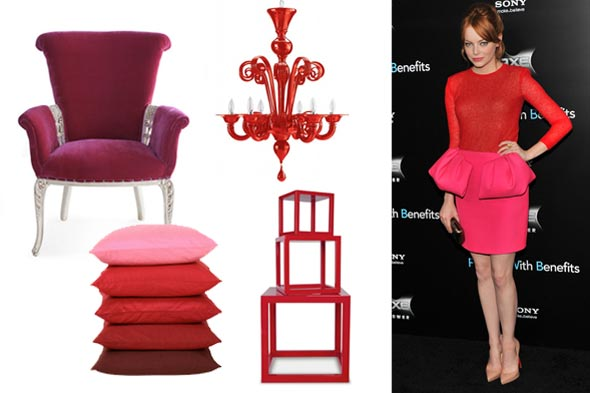 shelterpop fashionable room emma stone red pink neon