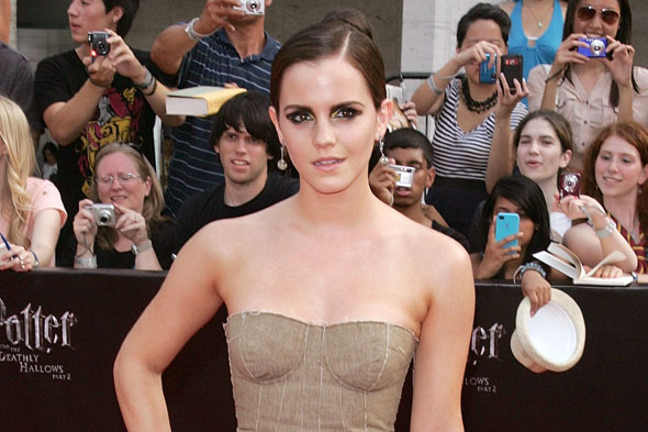 emma watson harry potter deathly hallows bottega veneta gold dress