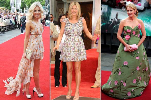 jk rowling jennifer aniston mollie kim oscar de la renta prada julien macdonald celebrity look of the week