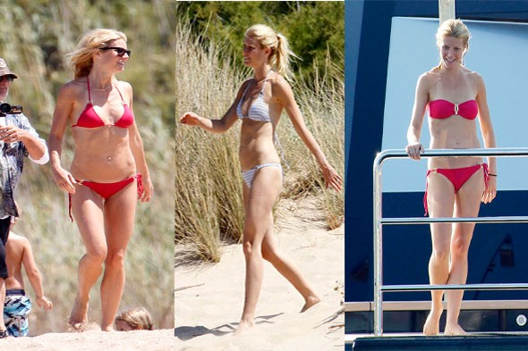 Gwyneth Paltrow vacation photos bikini bathing suit two piece halter red stripes