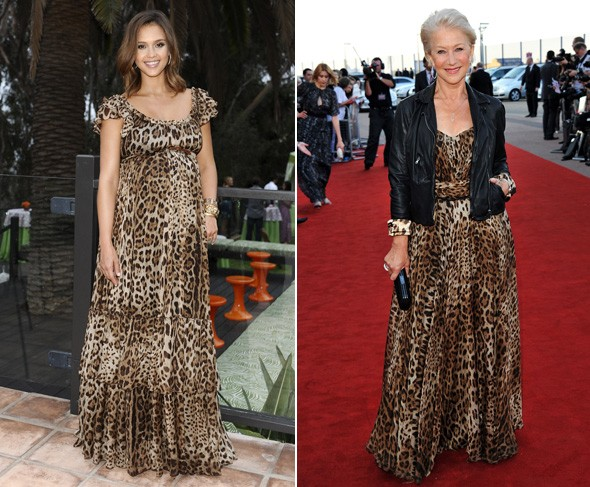 helen mirren jessica alba leopard print maxi dress dolce and gabbana
