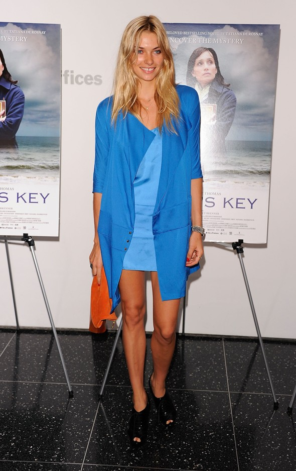 model jessica hart blue dress jacket orange bag black booties blonde sarah's key