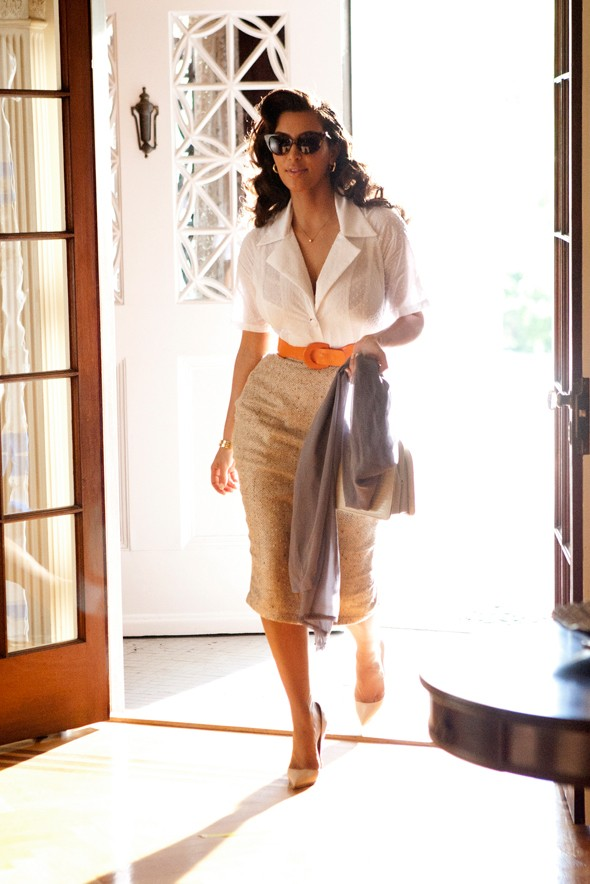 kim kardashian retro vintage fragrance commercial ad pencil skirt white button down orange belt curves