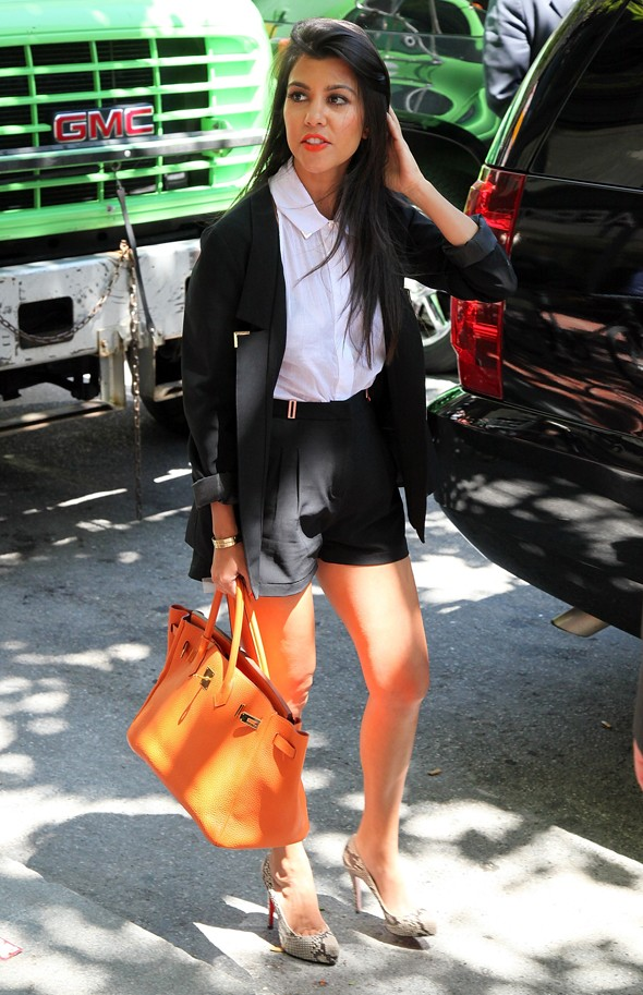 kourtney kim khloe kardashian orange hermes birkin bag snakeskin heels black and white suit shorts sears
