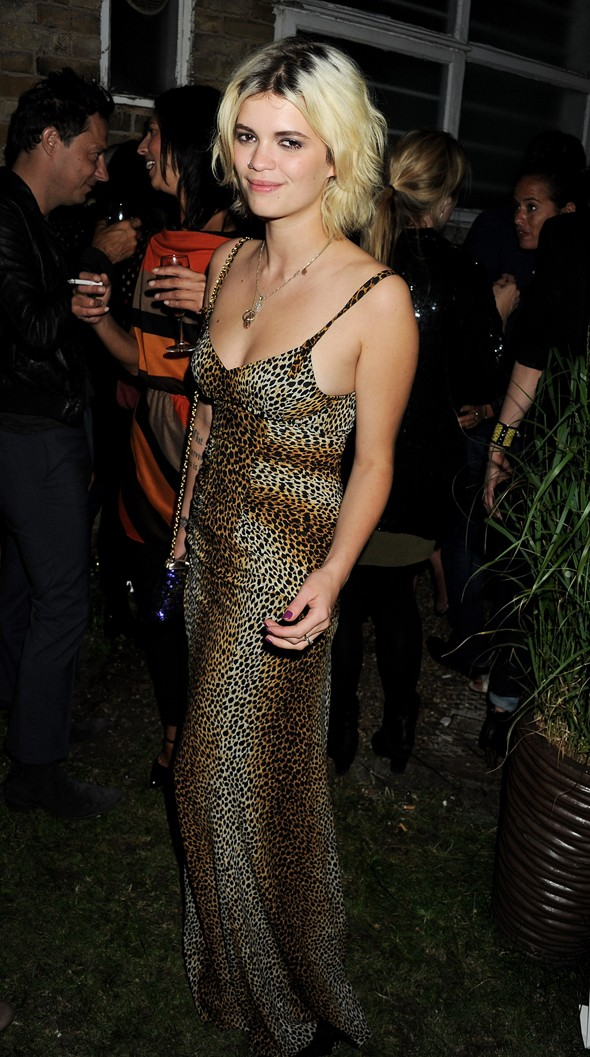 model and socialite pixie geldof leopard print maxi dress purple sequin bag