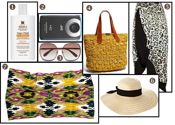 summer 2011 beach gear supplies rachel zoe towel blanket kiehls camera sunglasses straw hat sarong tote