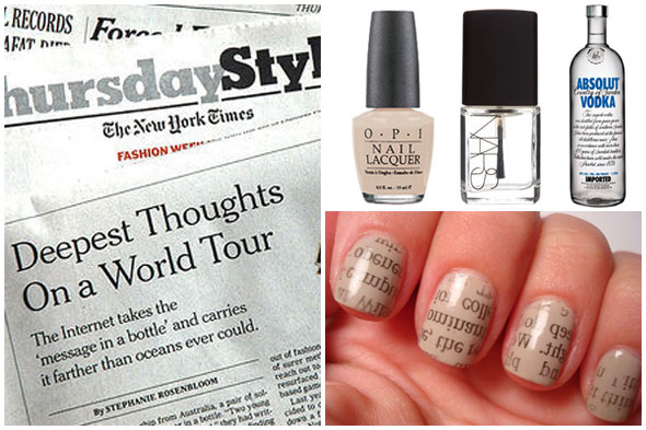 Newspaper Inspired Nail Art