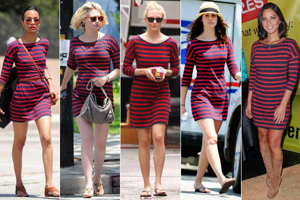 olivia munn emmy rossum january jones amanda seyfried zoe saldana red navy blue striped dress express