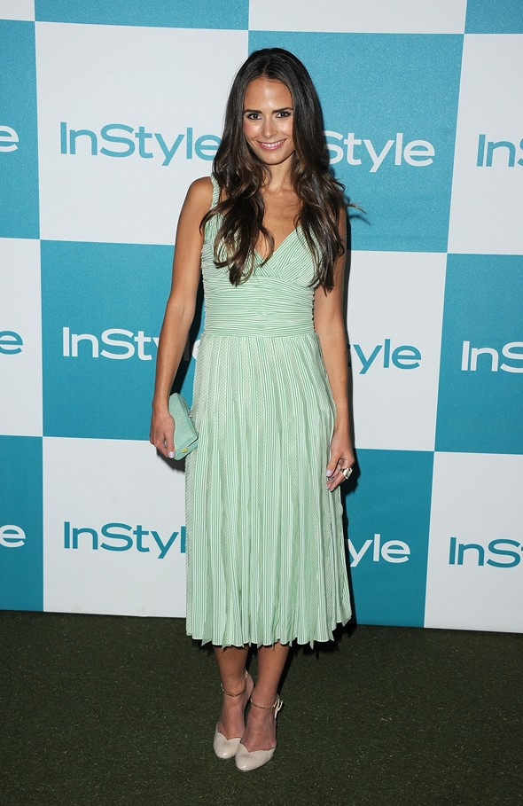 jordana brewster instyle summer soiree dress stripes green