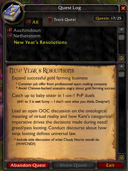 A New Year's quest log, part 1