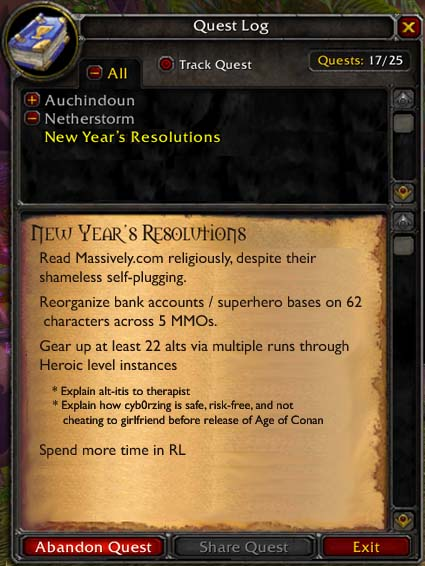 A New Year's quest log, part 2