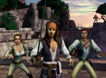 Jack Sparrow readies for battle in Pirates of the Caribbean Online.
