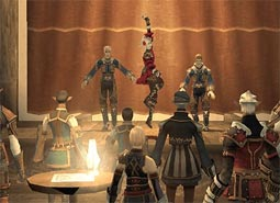 A dancer shows off her moves on a stage in Vana'diel.