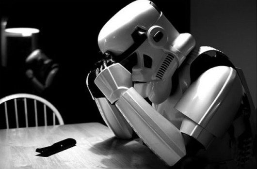 a storm trooper looking sad