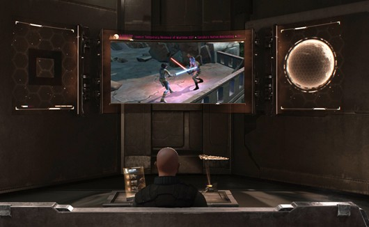 EVE Online - Player watching SWTOR in captain's quarters