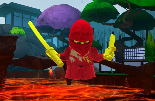 Red Ninja on lava