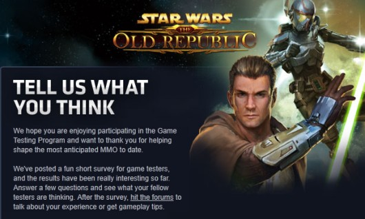 Neither the writer of this post nor our SWTOR columnist are currently in the beta, for the record.