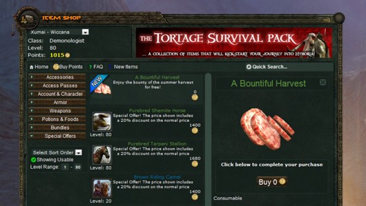 Age of Conan - Bountiful Harvest pack