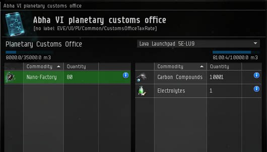 EVE Online - customs office import/export window
