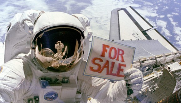 Astronaut with a for sale sign