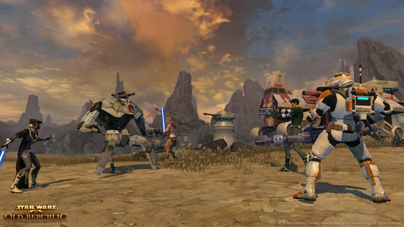 Star Wars The Old Republic - Trooper grouping with silly Jedi