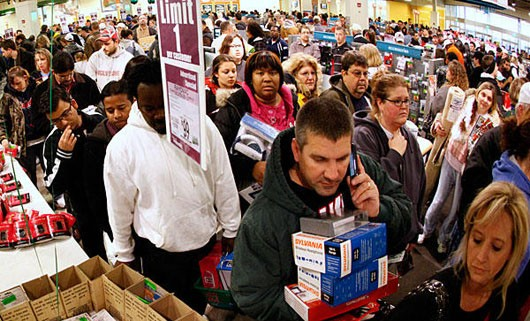 Black Friday - shoppers in the most horrific checkout line ever